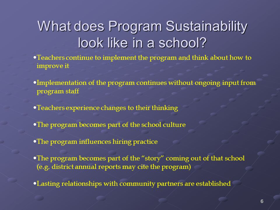 What does Program Sustainability look like in a school