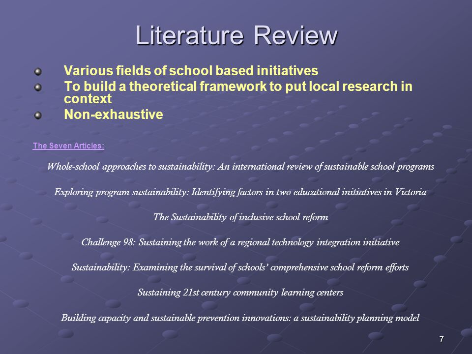 Literature Review Various fields of school based initiatives