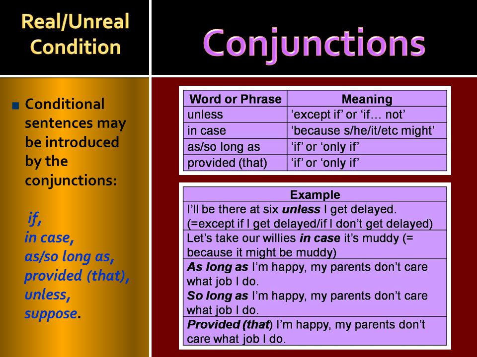 Real/Unreal Condition