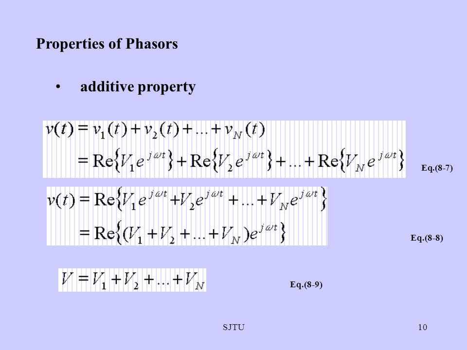 Properties of Phasors additive property Eq.(8-7) Eq.(8-8) Eq.(8-9)