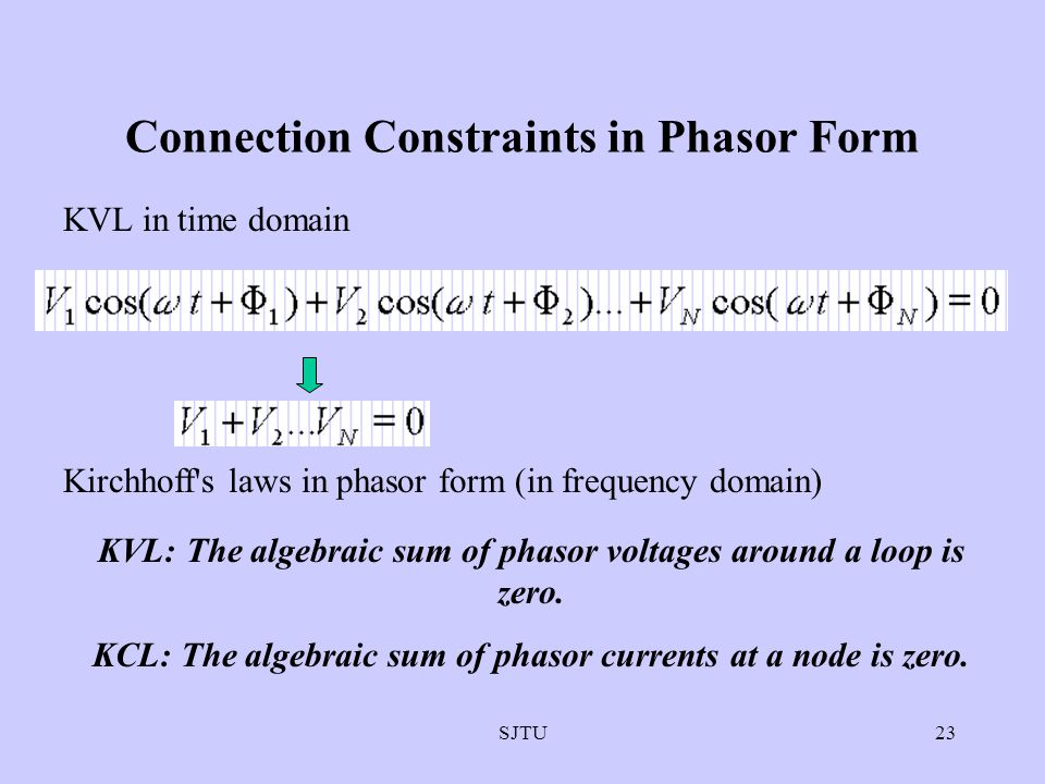 Connection Constraints in Phasor Form