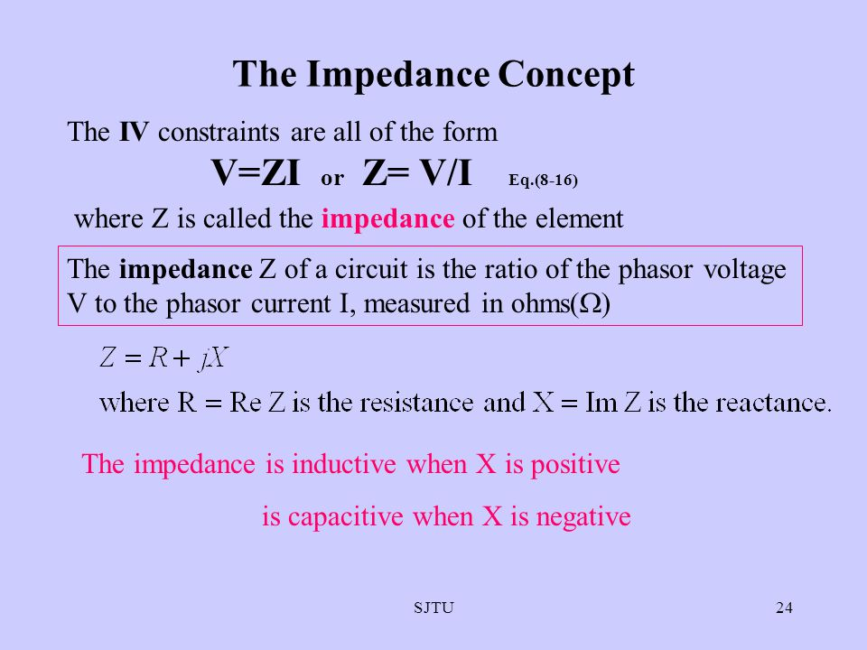 The Impedance Concept V=ZI or Z= V/I Eq.(8-16)