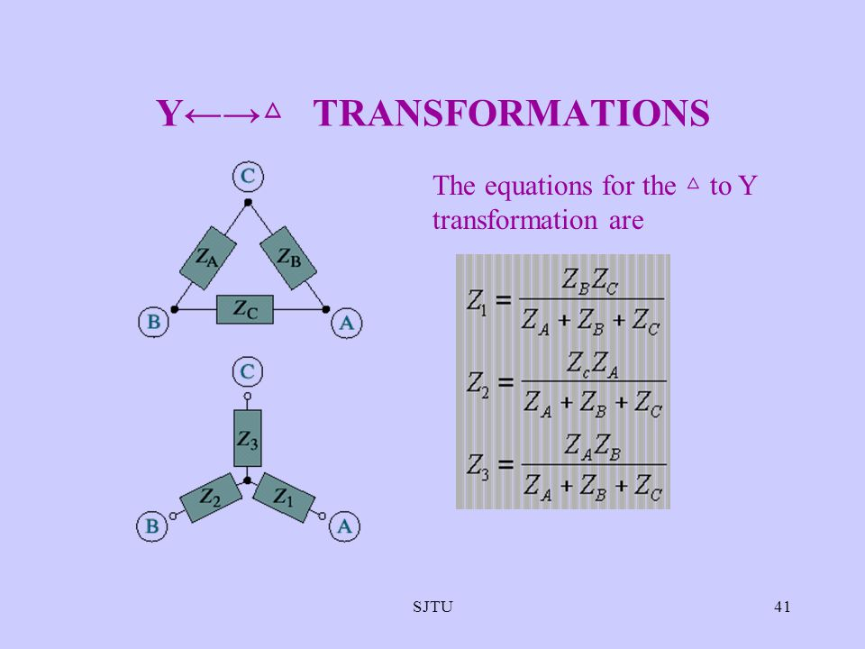 Y←→△ TRANSFORMATIONS The equations for the △ to Y transformation are