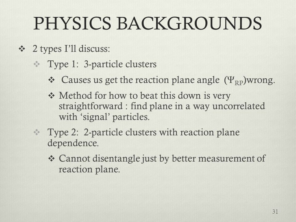 PHYSICS BACKGROUNDS 2 types I'll discuss: Type 1: 3-particle clusters