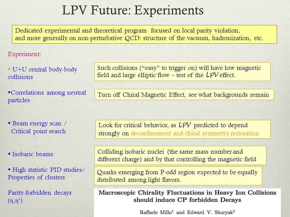 LPV Future: Experiments