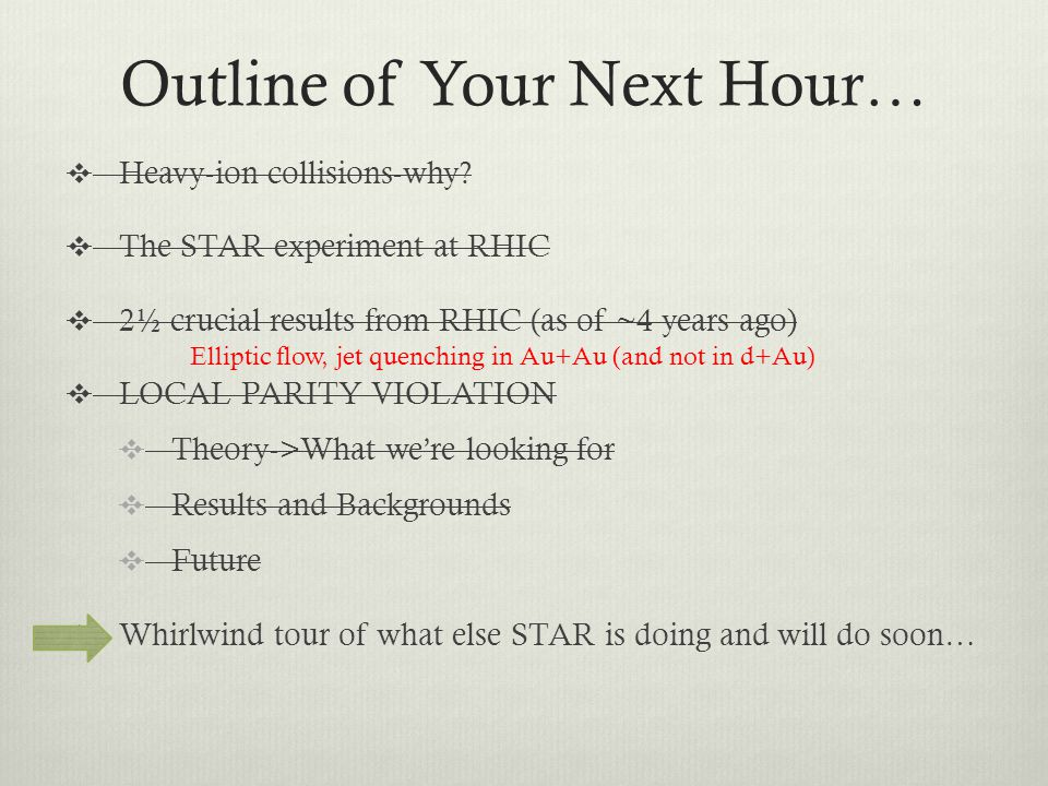 Outline of Your Next Hour…