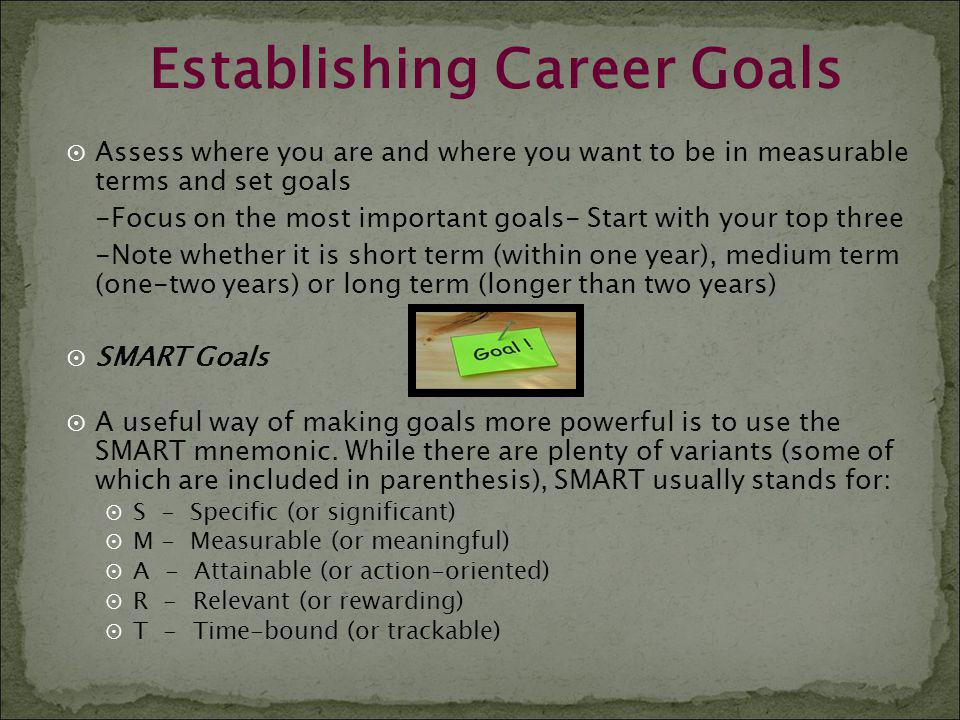 Establishing Career Goals