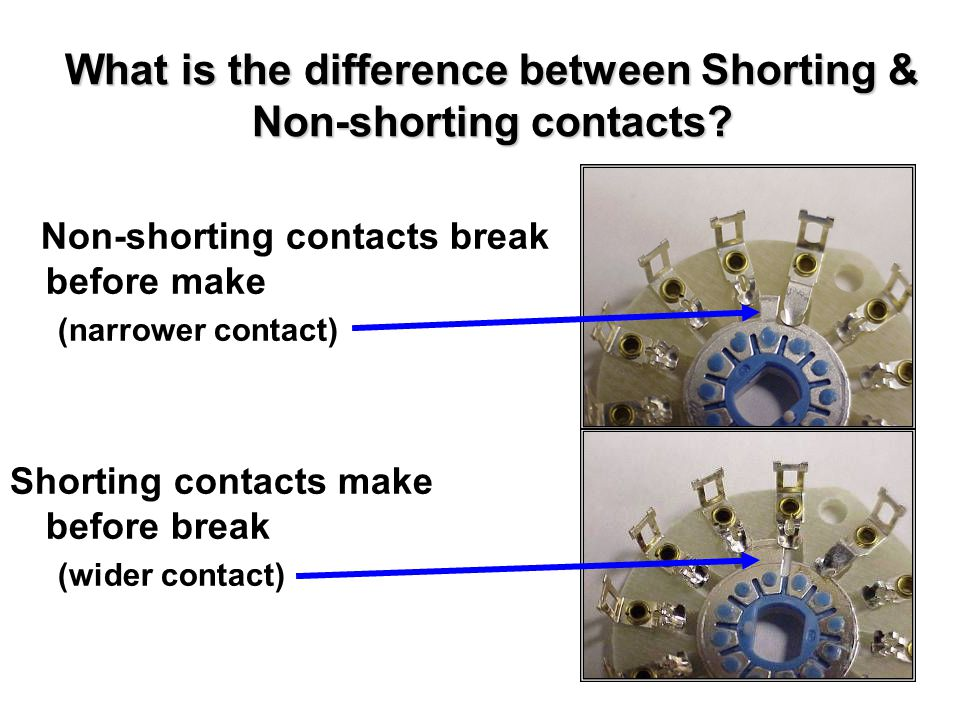What is the difference between Shorting & Non-shorting contacts