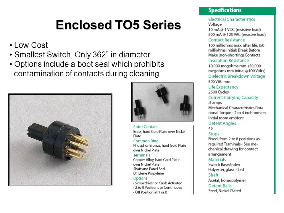 Enclosed TO5 Series Low Cost Smallest Switch, Only 362 in diameter