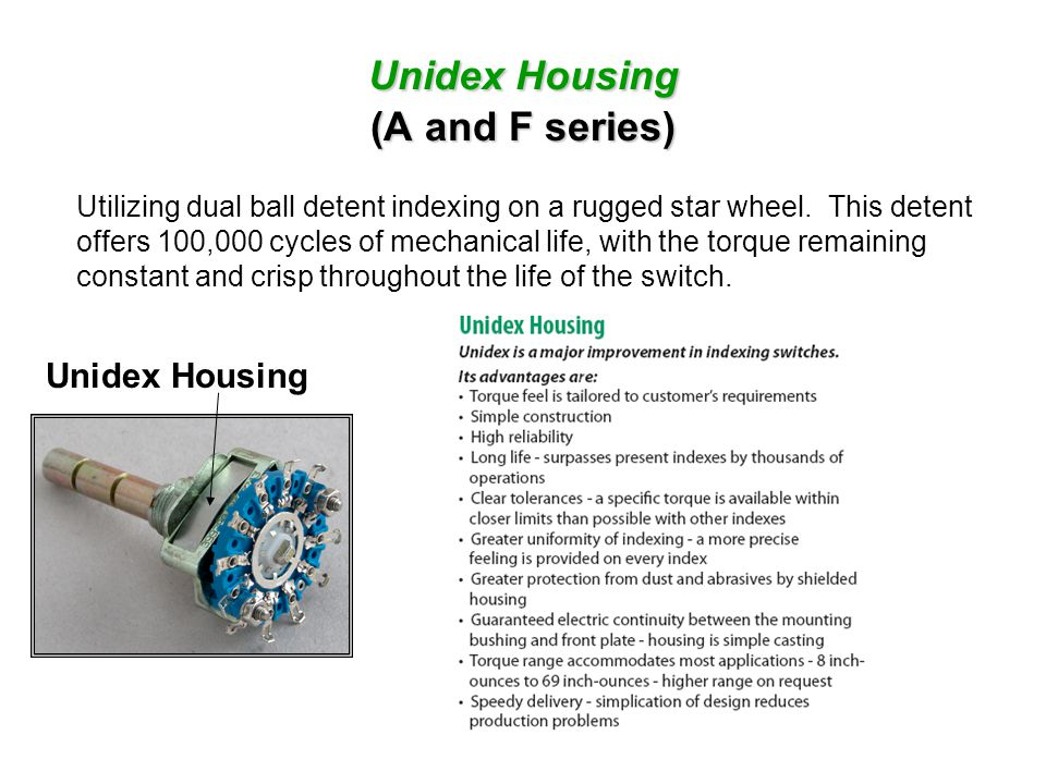 Unidex Housing (A and F series)