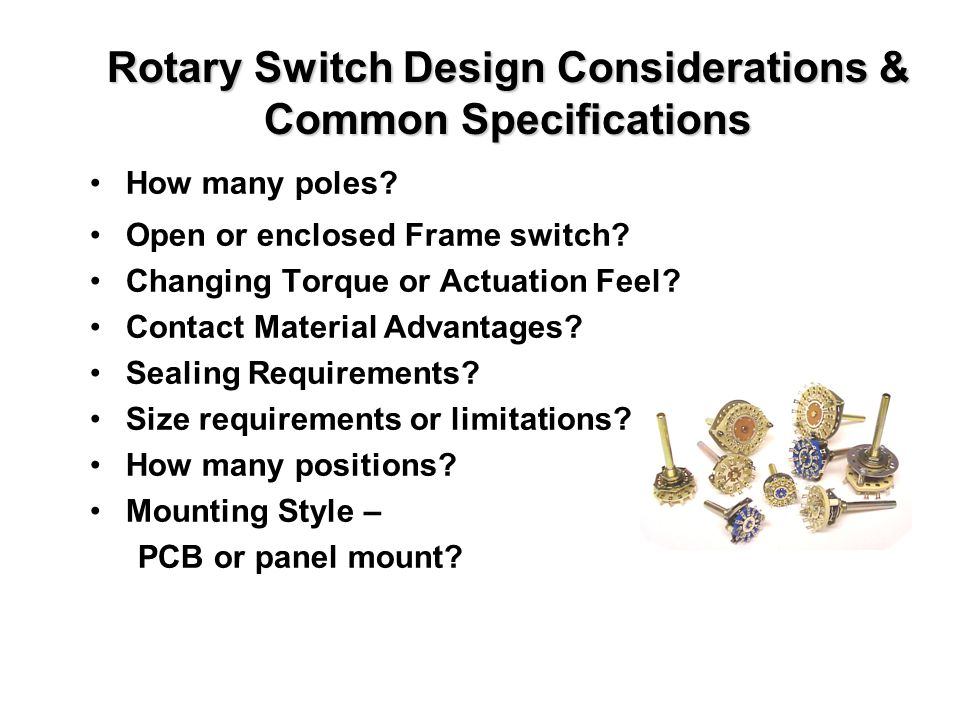 Rotary Switch Design Considerations & Common Specifications