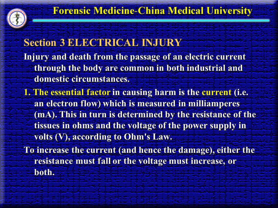Section 3 ELECTRICAL INJURY