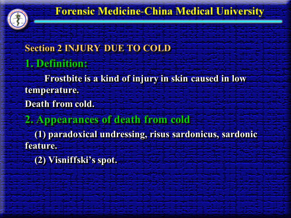 2. Appearances of death from cold