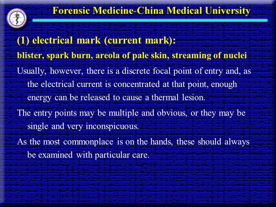 (1) electrical mark (current mark):