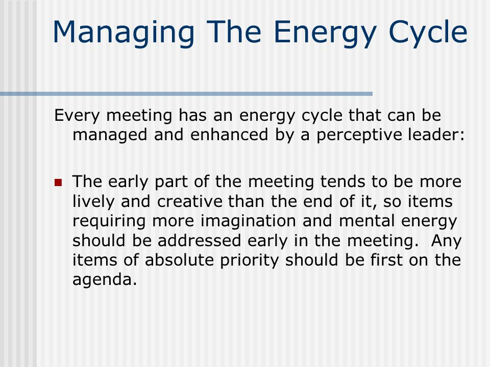 Managing The Energy Cycle