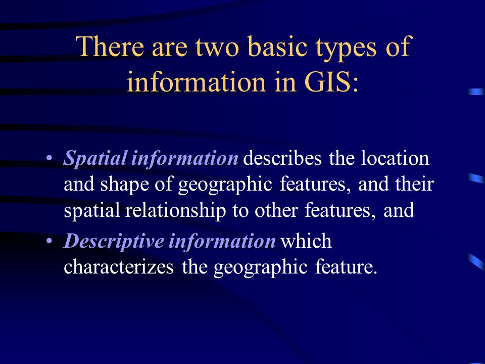 There are two basic types of information in GIS: