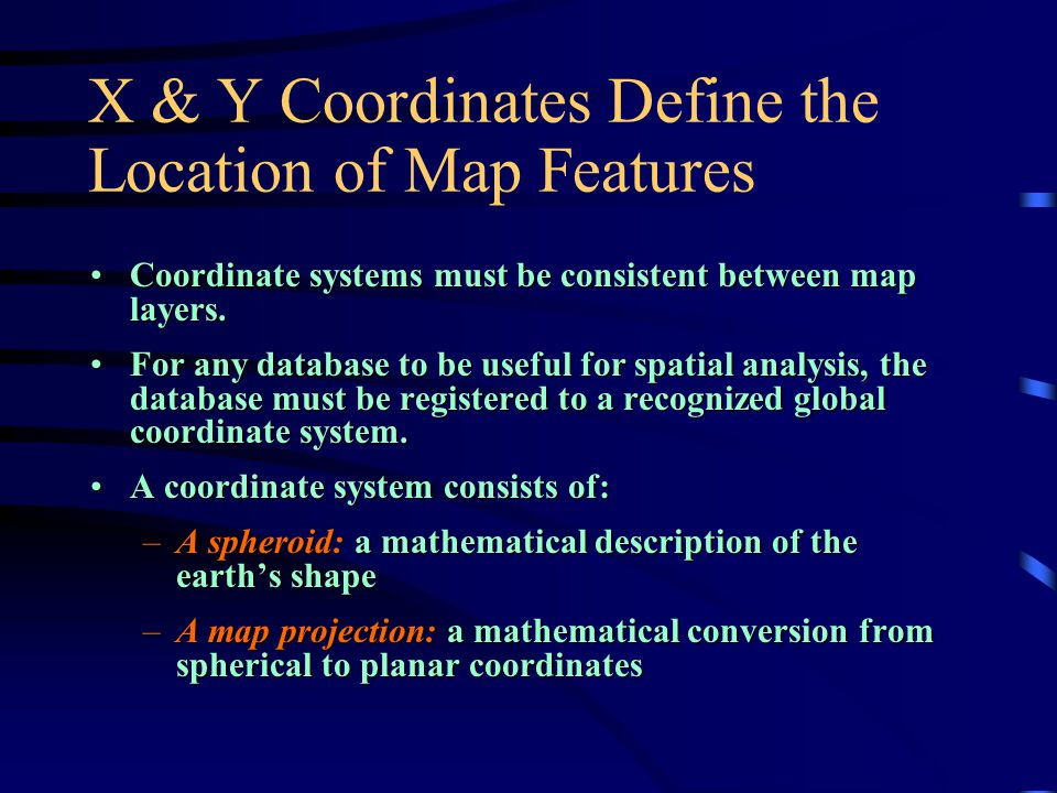 X & Y Coordinates Define the Location of Map Features