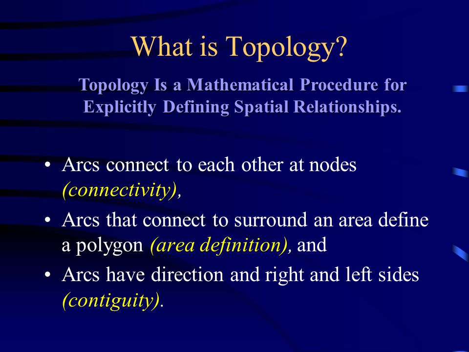 What is Topology Arcs connect to each other at nodes (connectivity),