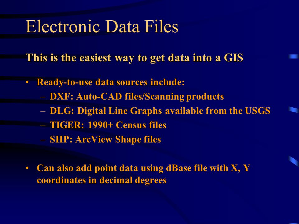 Electronic Data Files This is the easiest way to get data into a GIS