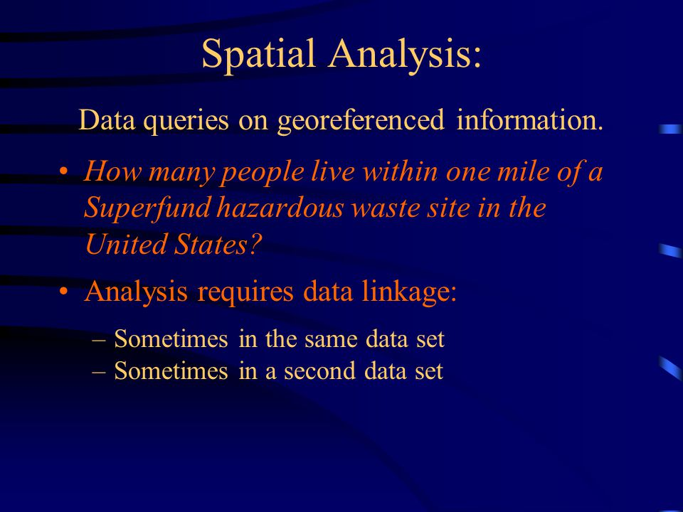 Spatial Analysis: Data queries on georeferenced information.