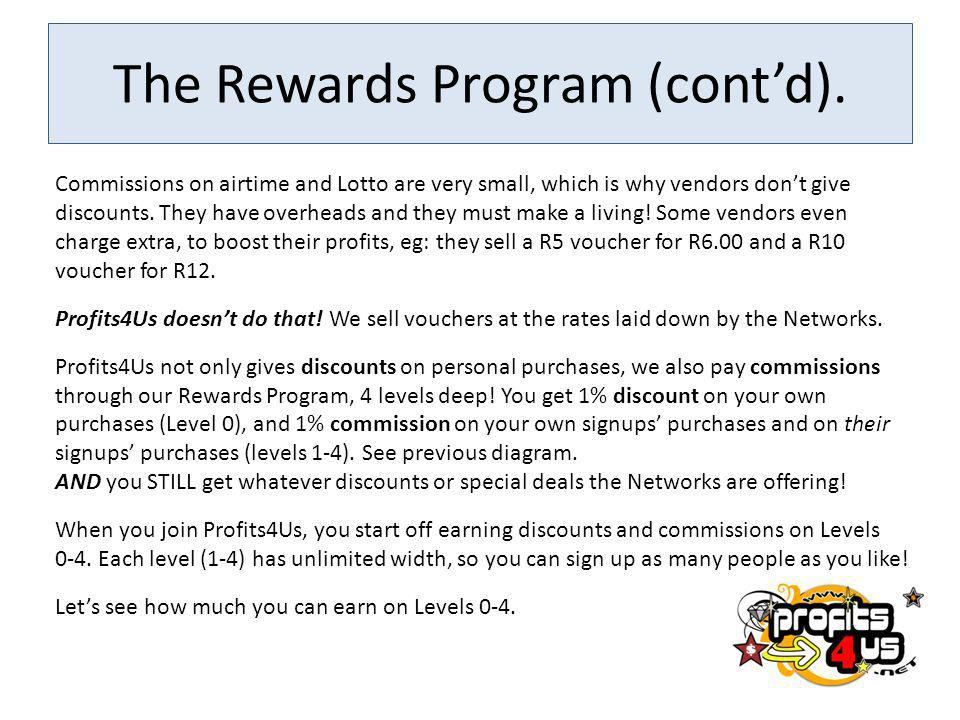 The Rewards Program (cont'd).