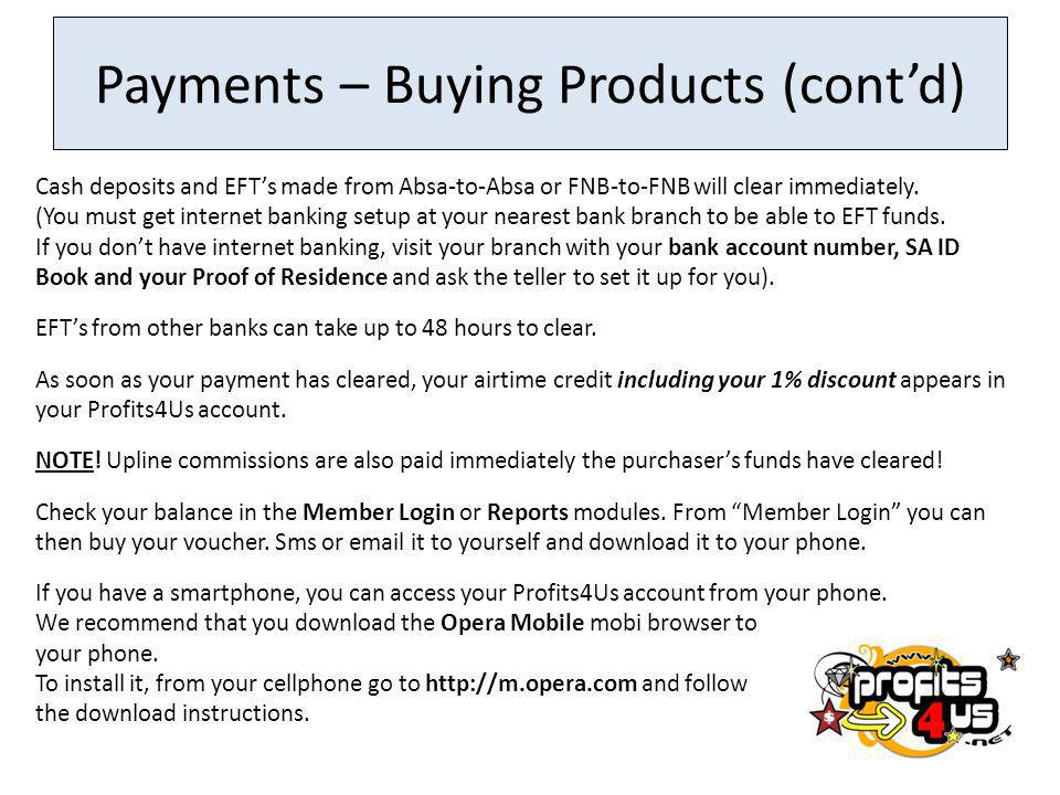 Payments – Buying Products (cont'd)