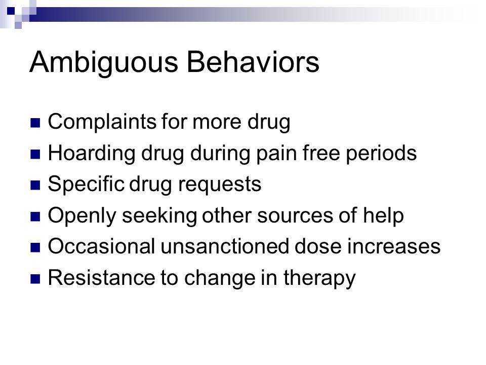 Ambiguous Behaviors Complaints for more drug