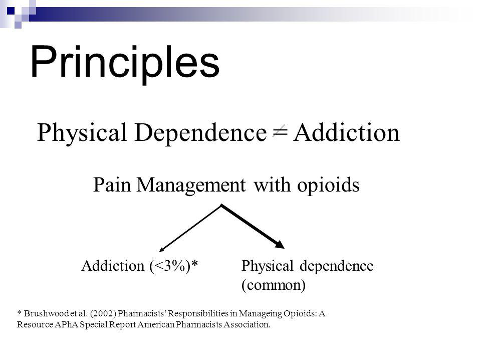 Principles Physical Dependence = Addiction