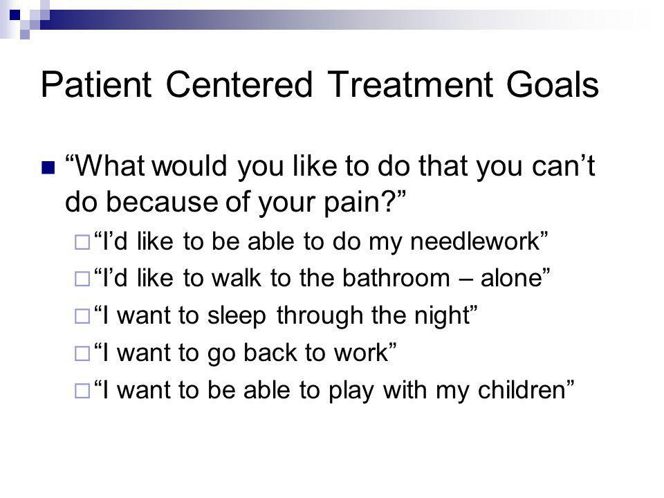 Patient Centered Treatment Goals