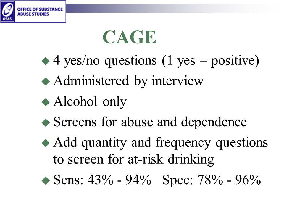 CAGE 4 yes/no questions (1 yes = positive) Administered by interview