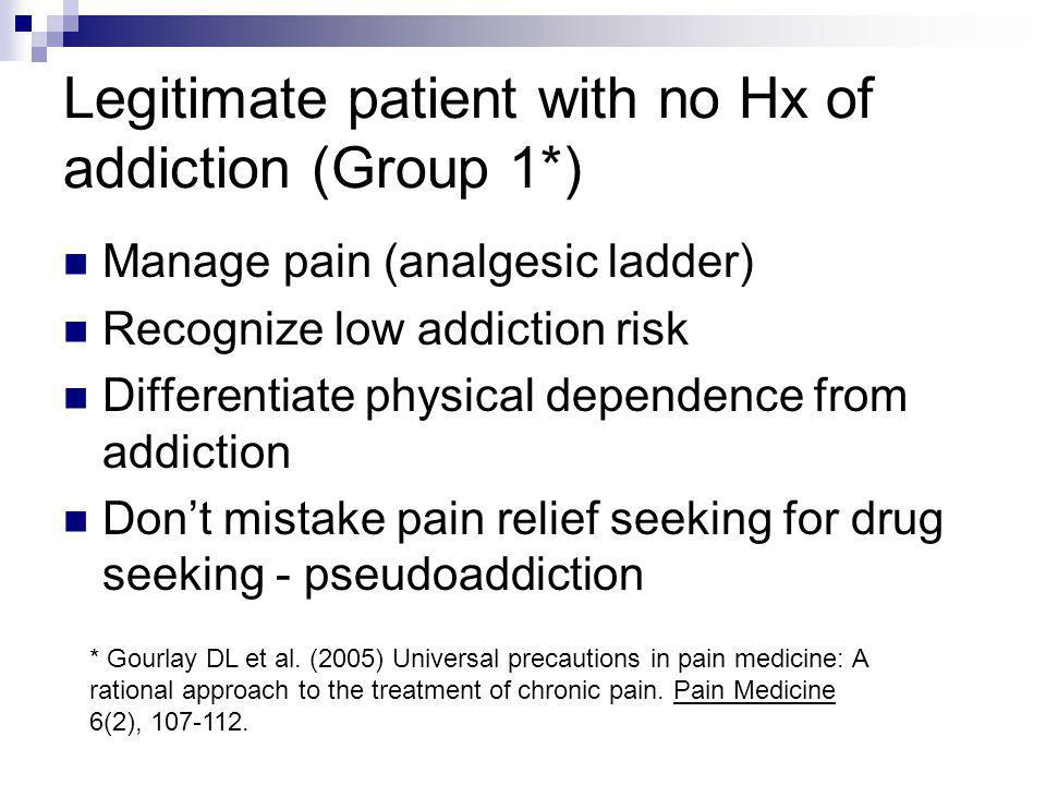 Legitimate patient with no Hx of addiction (Group 1*)