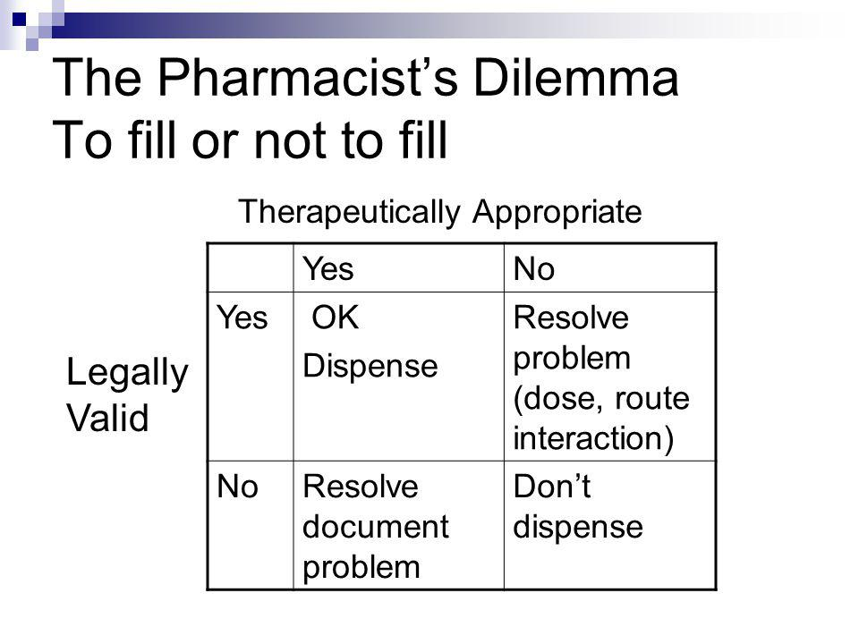The Pharmacist's Dilemma To fill or not to fill