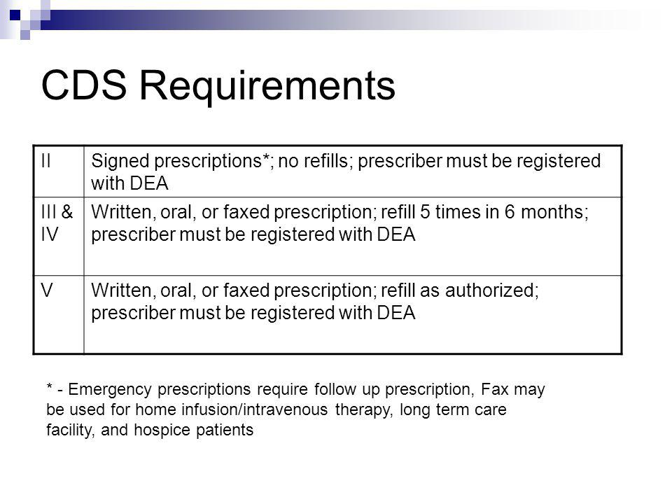 CDS Requirements II. Signed prescriptions*; no refills; prescriber must be registered with DEA. III & IV.