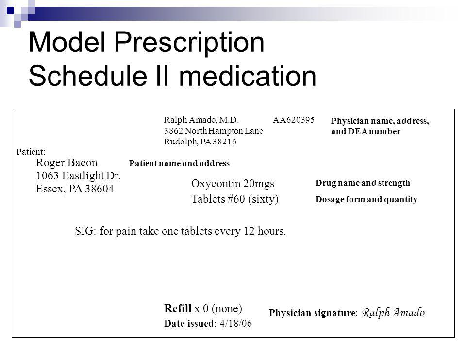 Model Prescription Schedule II medication