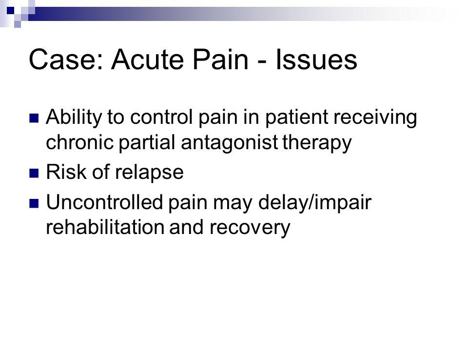 Case: Acute Pain - Issues