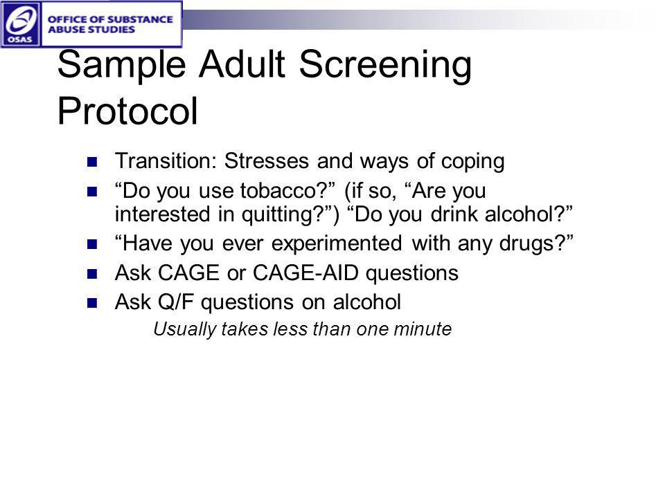 Sample Adult Screening Protocol