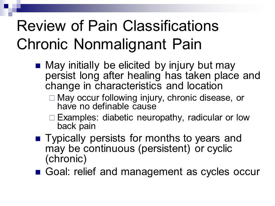 Review of Pain Classifications Chronic Nonmalignant Pain
