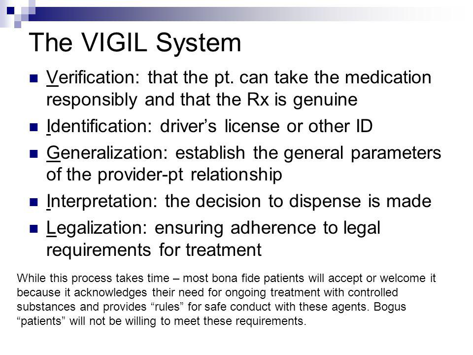 The VIGIL System Verification: that the pt. can take the medication responsibly and that the Rx is genuine.