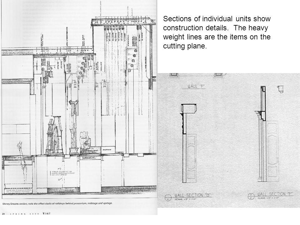 Sections of individual units show construction details