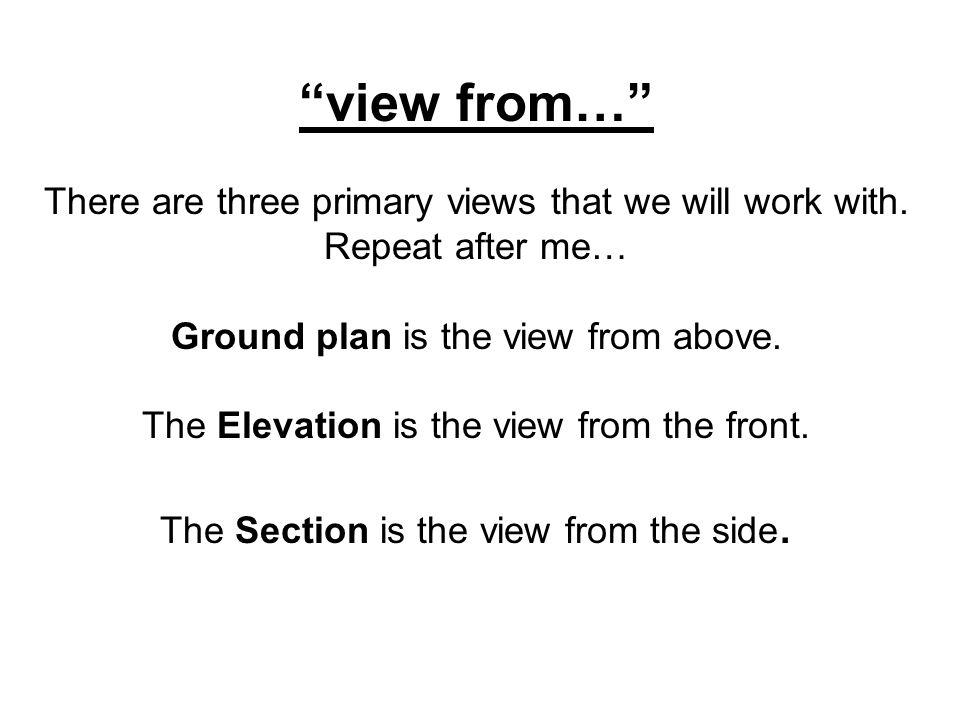 view from… There are three primary views that we will work with