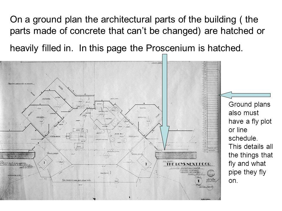 On a ground plan the architectural parts of the building ( the parts made of concrete that can't be changed) are hatched or heavily filled in. In this page the Proscenium is hatched.