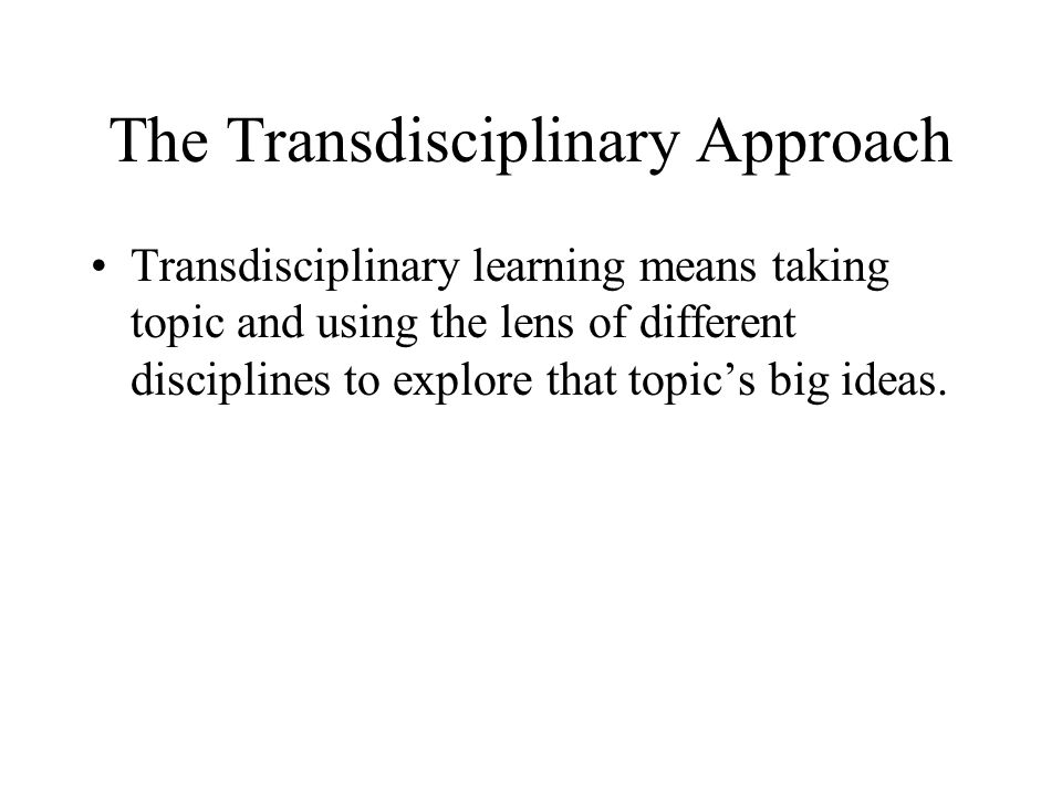 The Transdisciplinary Approach