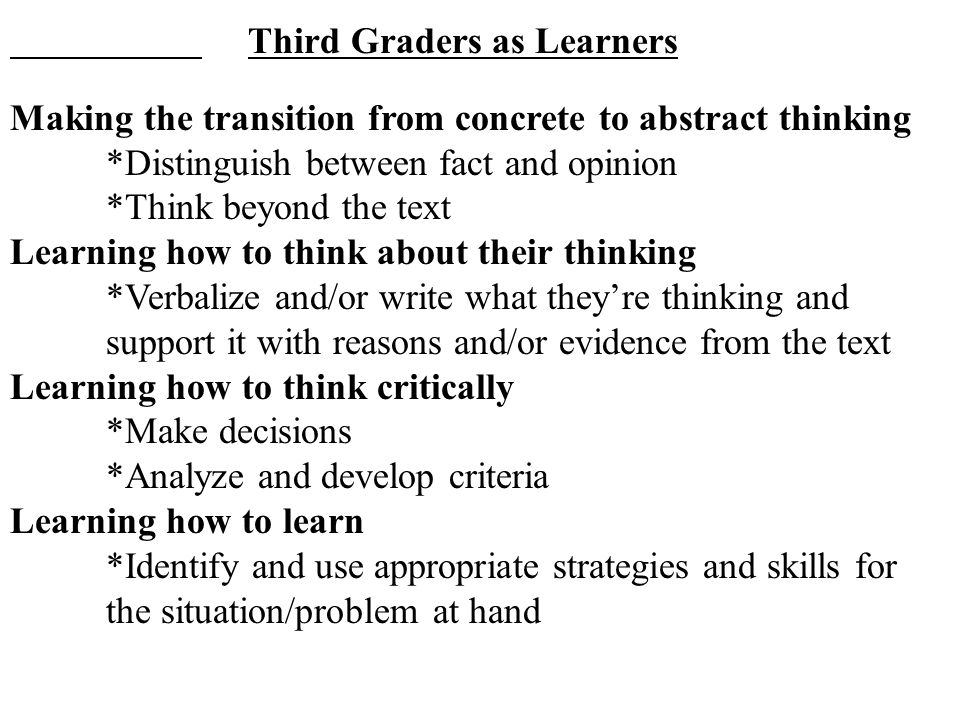 Third Graders as Learners