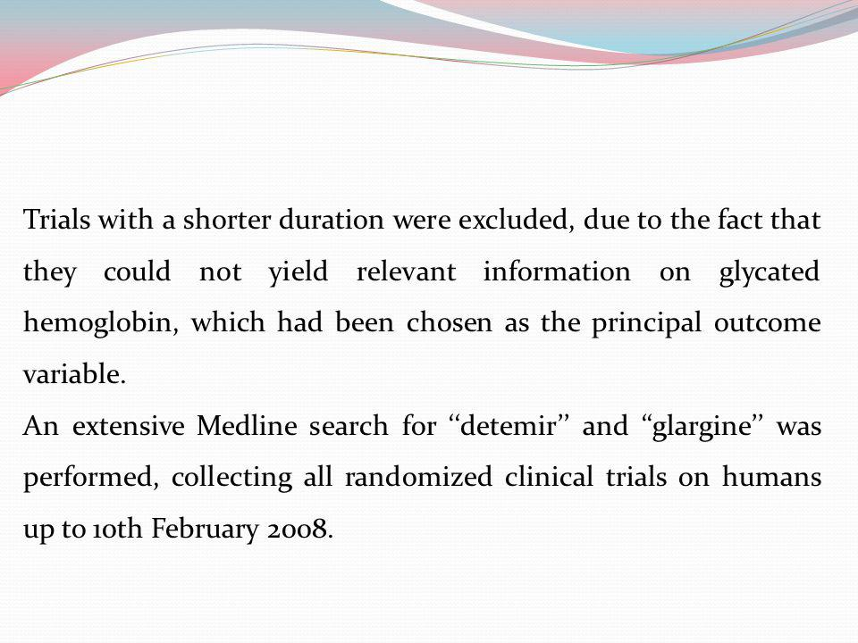 Trials with a shorter duration were excluded, due to the fact that they could not yield relevant information on glycated hemoglobin, which had been chosen as the principal outcome variable.