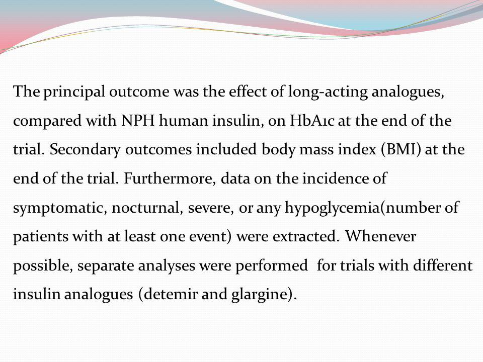 The principal outcome was the effect of long-acting analogues, compared with NPH human insulin, on HbA1c at the end of the trial.