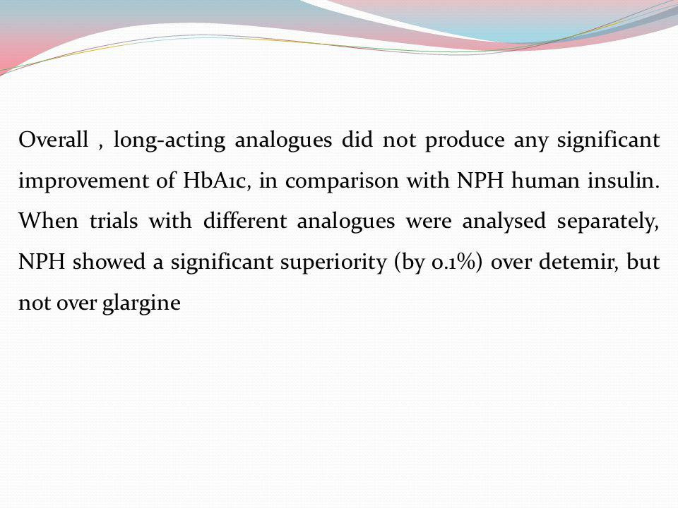 Overall , long-acting analogues did not produce any significant improvement of HbA1c, in comparison with NPH human insulin.