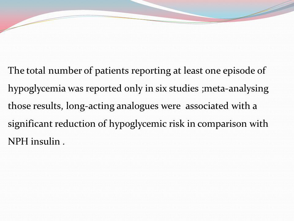 The total number of patients reporting at least one episode of hypoglycemia was reported only in six studies ;meta-analysing those results, long-acting analogues were associated with a significant reduction of hypoglycemic risk in comparison with NPH insulin .