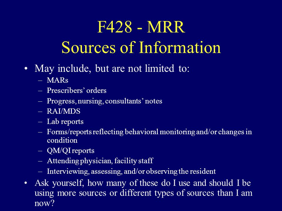 F428 - MRR Sources of Information