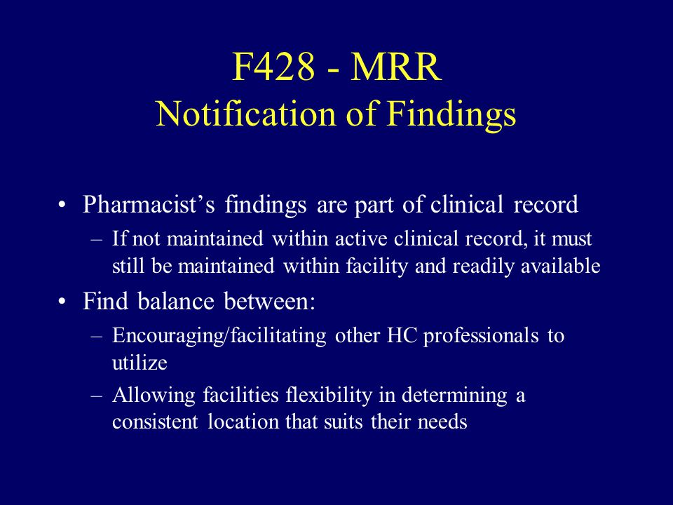 F428 - MRR Notification of Findings