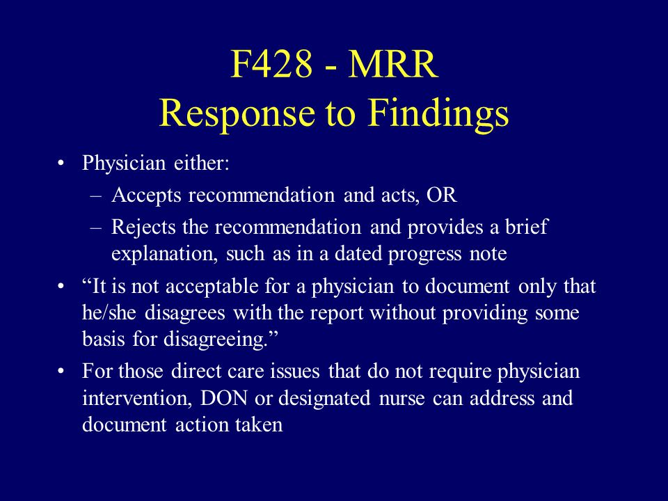 F428 - MRR Response to Findings